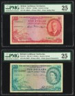 British Caribbean Territories Eastern Group 1; 5 Dollars 28.11.1950; 2.1.1962 Pick 1; 9c Two Examples PMG Very Fine 25. Pick 9c; ink.  HID09801242017