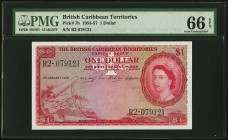 British Caribbean Territories Currency Board 1 Dollar 3.1.1956 Pick 7b PMG Gem Uncirculated 66 EPQ.   HID09801242017