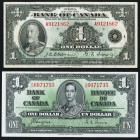 Canada Bank of Canada $1 1935; 1937 BC-1; BC-21d Two Examples Very Fine.   HID09801242017