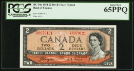 "Canada Bank of Canada $2 1954 BC-30a ""Devil's Face"" PCGS Gem New 65PPQ.   HID09801242017"
