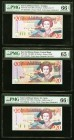 East Caribbean States Central Bank 20 Dollars ND (1994; 1994; 2008) Pick 33a; 33l; 49a Three Examples PMG Gem Uncirculated 66 EPQ (2); Gem Uncirculate...