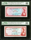 East Caribbean States Group Lot of Four PMG Graded Examples. 1 Dollar ND (1965) Pick 13a PMG Extremely Fine 40; 1 Dollar ND (1965) Pick 13d PMG Choice...