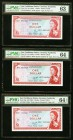 East Caribbean States Currency Authority 1 Dollar ND (1965) Pick 13d; 13f; 13g Three Examples PMG Choice Uncirculated 63; Choice Uncirculated 64; Choi...