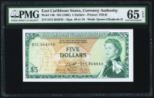 East Caribbean States Currency Authority 5 Dollars ND (1965) Pick 14h PMG Gem Uncirculated 65 EPQ.   HID09801242017