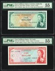East Caribbean States Currency Authority 1; 5 Dollars ND (1965) Pick 13l; 14e Two Examples PMG About Uncirculated 55 EPQ; About Uncirculated 55.   HID...