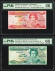 East Caribbean States Central Bank, Montserrat 1; 5 Dollars ND (1985-88) Pick 17m; 18m Two Examples PMG Gem Uncirculated 66 EPQ (2).   HID09801242017