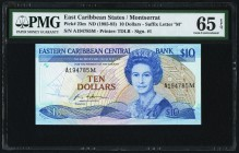 East Caribbean States Central Bank, Montserrat 10 Dollars ND (1985-93) Pick 23m PMG Gem Uncirculated 65 EPQ.   HID09801242017