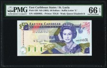 East Caribbean States Central Bank, St. Lucia 50 Dollars ND (1993) Pick 29l PMG Gem Uncirculated 66 EPQ.   HID09801242017