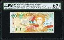East Caribbean States Central Bank, St. Lucia 50 Dollars ND (1994) Pick 34l PMG Superb Gem Unc 67 EPQ.   HID09801242017