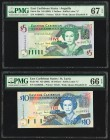East Caribbean States Central Bank 5; 10 Dollars ND (2003) Pick 42u; 43l Two Examples PMG Superb Gem Unc 67 EPQ; Gem Uncirculated 66 EPQ.   HID0980124...