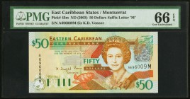 East Caribbean States Central Bank, Montserrat 50 Dollars ND (2003) Pick 45m PMG Gem Uncirculated 66 EPQ.   HID09801242017