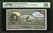 Ethiopia State Bank of Ethiopia 10 Dollars ND (1945) Pick 14c PMG Choice About Unc 58.   HID09801242017