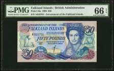 Falkland Islands Government of the Falkland Islands 50 Pounds 1.7.1990 Pick 16a PMG Gem Uncirculated 66 EPQ.   HID09801242017
