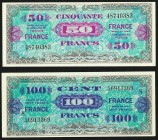 France Allied Military Currency 50; 100 Francs 1944 Pick 122a; 123c About Uncirculated or Better.   HID09801242017