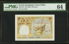 French Somaliland Tresor Public Cote Francaise 50 Francs ND (1952) pick 25 PMG Choice Uncirculated 64.   HID09801242017