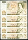 Great Britain Bank of England 50 Pounds ND (1981-88) Pick 381a, Five Consecutive Examples About Uncirculated or Better. Each example has a few pinhole...