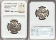 MACEDONIAN KINGDOM. Alexander III the Great (336-323 BC). AR tetradrachm (25mm, 17.28 gm, 8h). NGC VF 4/5 - 4/5. Lifetime issue of Tarsus, 327-323 BC....