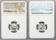 MACEDONIAN KINGDOM. Alexander III the Great (336-323 BC). AR drachm (17mm, 4.30 gm, 12h). NGC MS 5/5 - 4/5. Late lifetime-early posthumous issue of Sa...