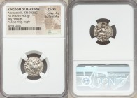 MACEDONIAN KINGDOM. Alexander III the Great (336-323 BC). AR drachm (17mm, 4.37 gm, 6h). NGC Choice XF 4/5 - 4/5. Lifetime issue of Miletus, ca. 325-3...