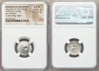 MACEDONIAN KINGDOM. Alexander III the Great (336-323 BC). AR drachm (17mm, 4.28 gm, 12h). NGC Choice XF 4/5 - 4/5. Lifetime issue of Miletus, ca. 325-...