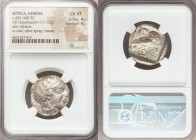 ATTICA. Athens. Ca. 455-440 BC. AR tetradrachm (23mm, 17.12 gm, 7h). NGC Choice VF 4/5 - 4/5. Early transitional issue. Head of Athena right, wearing ...