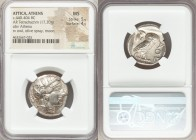 ATTICA. Athens. Ca. 440-404 BC. AR tetradrachm (23mm, 17.20 gm, 7h). NGC MS 5/5 - 4/5. Mid-mass coinage issue. Head of Athena right, wearing crested A...