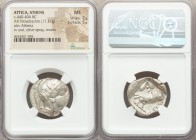 ATTICA. Athens. Ca. 440-404 BC. AR tetradrachm (24mm, 17.21 gm, 2h). NGC MS 2/5 - 5/5. Mid-mass coinage issue. Head of Athena right, wearing crested A...