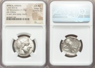 ATTICA. Athens. Ca. 440-404 BC. AR tetradrachm (25mm, 17.19 gm, 10h). NGC Choice AU 5/5 - 5/5. Mid-mass coinage issue. Head of Athena right, wearing c...