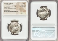 ATTICA. Athens. Ca. 440-404 BC. AR tetradrachm (24mm, 17.16 gm, 7h). NGC Choice AU 5/5 - 4/5. Mid-mass coinage issue. Head of Athena right, wearing cr...