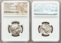 ATTICA. Athens. Ca. 440-404 BC. AR tetradrachm (24mm, 17.17 gm, 10h). NGC AU 5/5 - 4/5. Mid-mass coinage issue. Head of Athena right, wearing crested ...