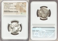 ATTICA. Athens. Ca. 440-404 BC. AR tetradrachm (24mm, 17.16 gm, 4h). NGC AU 5/5 - 4/5. Mid-mass coinage issue. Head of Athena right, wearing crested A...