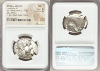 ATTICA. Athens. Ca. 440-404 BC. AR tetradrachm (28mm, 17.12 gm, 3h). NGC AU 4/5 - 4/5. Mid-mass coinage issue. Head of Athena right, wearing crested A...