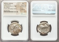 ATTICA. Athens. Ca. 440-404 BC. AR tetradrachm (26mm, 17.19 gm, 2h). NGC AU 5/5 - 2/5, Full Crest. Mid-mass coinage issue. Head of Athena right, weari...