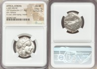 ATTICA. Athens. Ca. 440-404 BC. AR tetradrachm (23mm, 17.18 gm, 8h). NGC Choice XF 5/5 - 4/5. Mid-mass coinage issue. Head of Athena right, wearing cr...