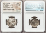 ATTICA. Athens. Ca. 440-404 BC. AR tetradrachm (25mm, 17.17 gm, 10h). NGC Choice XF 5/5 - 4/5. Mid-mass coinage issue. Head of Athena right, wearing c...