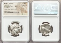ATTICA. Athens. Ca. 440-404 BC. AR tetradrachm (23mm, 17.18 gm, 9h). NGC Choice XF 5/5 - 3/5. Mid-mass coinage issue. Head of Athena right, wearing cr...