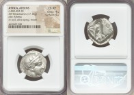 ATTICA. Athens. Ca. 440-404 BC. AR tetradrachm (24mm, 17.16 gm, 5h). NGC Choice XF 4/5 - 4/5. Mid-mass coinage issue. Head of Athena right, wearing cr...