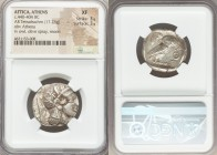 ATTICA. Athens. Ca. 440-404 BC. AR tetradrachm (24mm, 17.23 gm, 7h). NGC XF 3/5 - 3/5. Mid-mass coinage issue. Head of Athena right, wearing crested A...