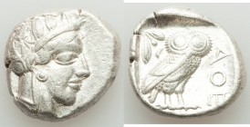 ATTICA. Athens. Ca. 440-404 BC. AR tetradrachm (23mm, 17.24 gm, 6h). VF. Mid-mass coinage issue. Head of Athena right, wearing crested Attic helmet or...