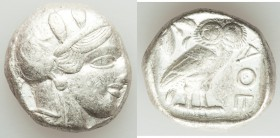 ATTICA. Athens. Ca. 440-404 BC. AR tetradrachm (23mm, 17.21 gm, 3h). Fine. Mid-mass coinage issue. Head of Athena right, wearing crested Attic helmet ...