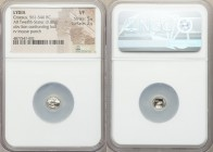 LYDIAN KINGDOM. Time of Croesus (ca. 561-546 BC). AR 1/12 stater (7mm, 0.80 gm). NGC VF 5/5 - 2/5. Sardes. Confronted foreparts lion on left facing ri...