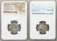 PAMPHYLIA. Aspendus. Ca. 380-330 BC. AR stater (23mm, 10.88 gm, 11h). NGC Choice XF 3/5 - 4/5. Two wrestlers grappling, KI between, all within dotted ...