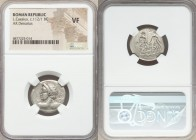 Lucius Caesius (ca. 112/1 BC). AR denarius (22mm, 6h). NGC VF. Rome. Bust of Vejovis left, hurling thunderbolt, viewed from behind, monogram behind / ...