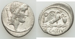 Q. Cassius Longinus (ca. 55 BC). AR denarius (18mm, 3.97 gm, 5h). VF. Head of Bonus Eventus right, scepter over shoulder / Eagle standing right on thu...