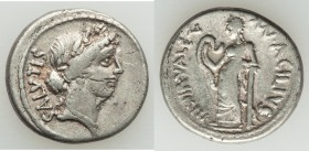 Mn. Acilius Glabrio (ca. 49 BC). AR denarius (19mm, 4.14 gm, 6h). VF. Rome. Laureate head of Salus right, wearing cruciform earring and bead necklace,...