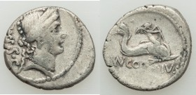 Mn. Cordius Rufus (ca. 46 BC). AR denarius (18mm, 3.20 gm, 7h). About VF. Rome. Head of Venus right, wearing stephane, RVFVS•S•C behind / Cupid on dol...