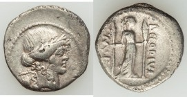 P. Clodius M.f. Turrinus (ca. 42 BC). AR denarius (19mm, 3.68 gm, 12h). VF. Rome. Laureate head of Apollo right; lyre behind / P•CLODIVS-M•F, Diana Lu...