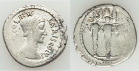 P. Accoleius Lariscolus (41 BC). AR denarius (19mm, 3.79 gm, 2h). VF. Rome. P ACCOLEIVS-LARISCOLVS, draped bust of Diana Nemorensis right / Triple cul...