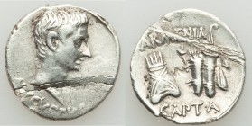 Augustus (27 BC-AD 14). AR denarius (18mm, 3.31 gm, 6h). VF, flan damage. Pergamum mint. Struck circa 19-18 BC. AVGVSTVS, bare head right / ARMENIA / ...