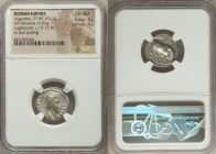 Augustus (27 BC-AD 14). AR denarius (18mm, 3.87 gm, 7h). NGC Choice AU 4/5 - 4/5. Lugdunum, 15-13 BC. AVGVSTVS-DIVI•F, bare head of Augustus right / B...